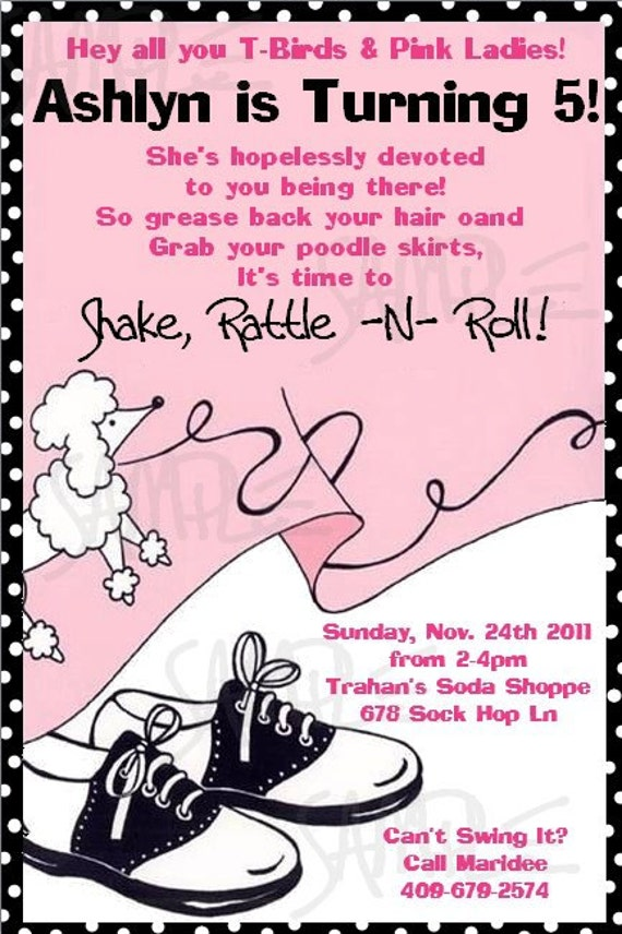 Sock Hop Party Invitations