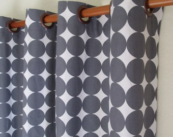 """Pair of 50"""" wide Dwell Studio dotscape fabric  rod panels, drapes, curtains in charcoal grey and white. Size 50x63"""" 50x84"""" 50x96"""" or 50x108"""""""