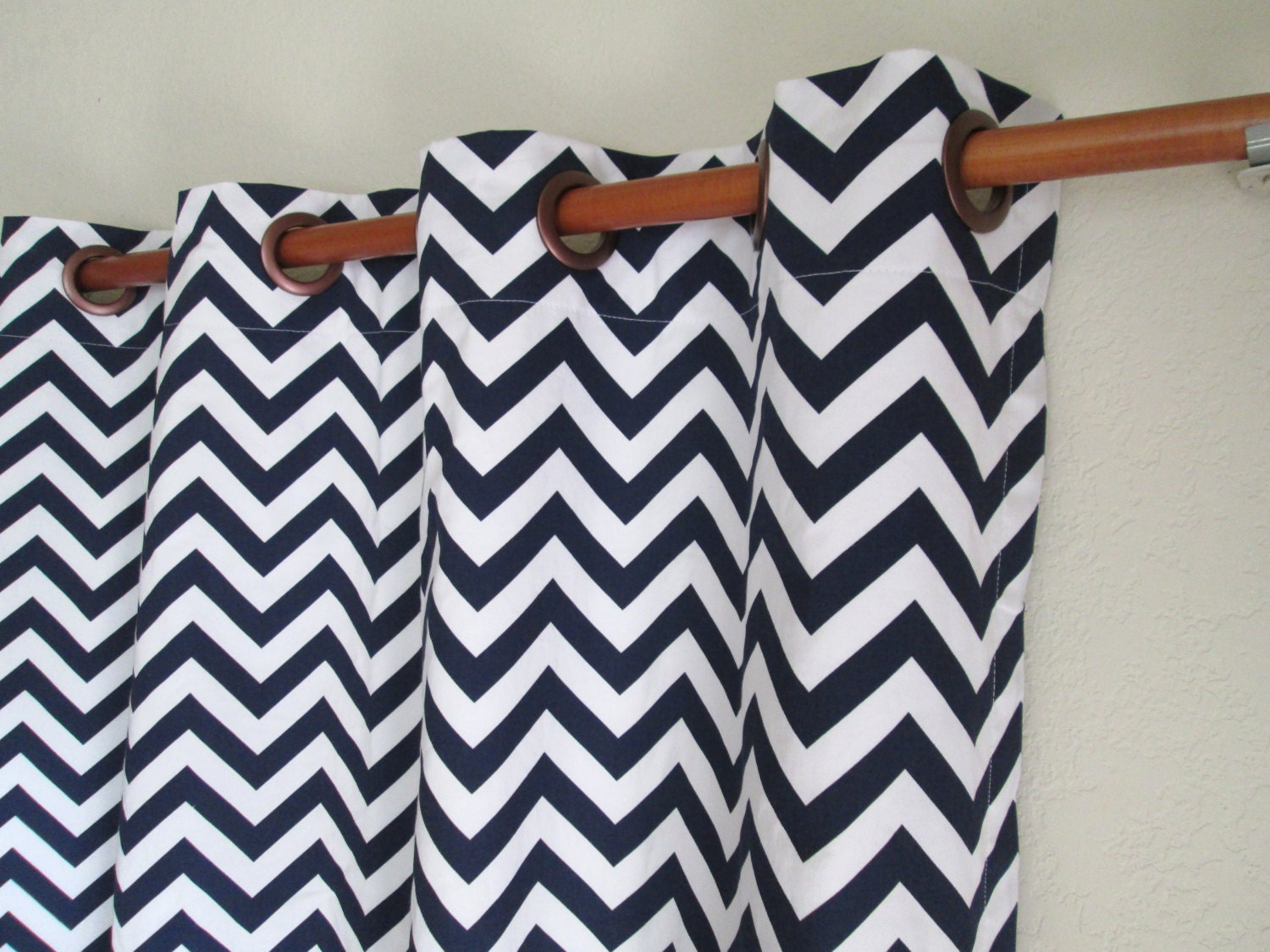 pair of 50 wide navy blue and white chevron zig zag rod. Black Bedroom Furniture Sets. Home Design Ideas