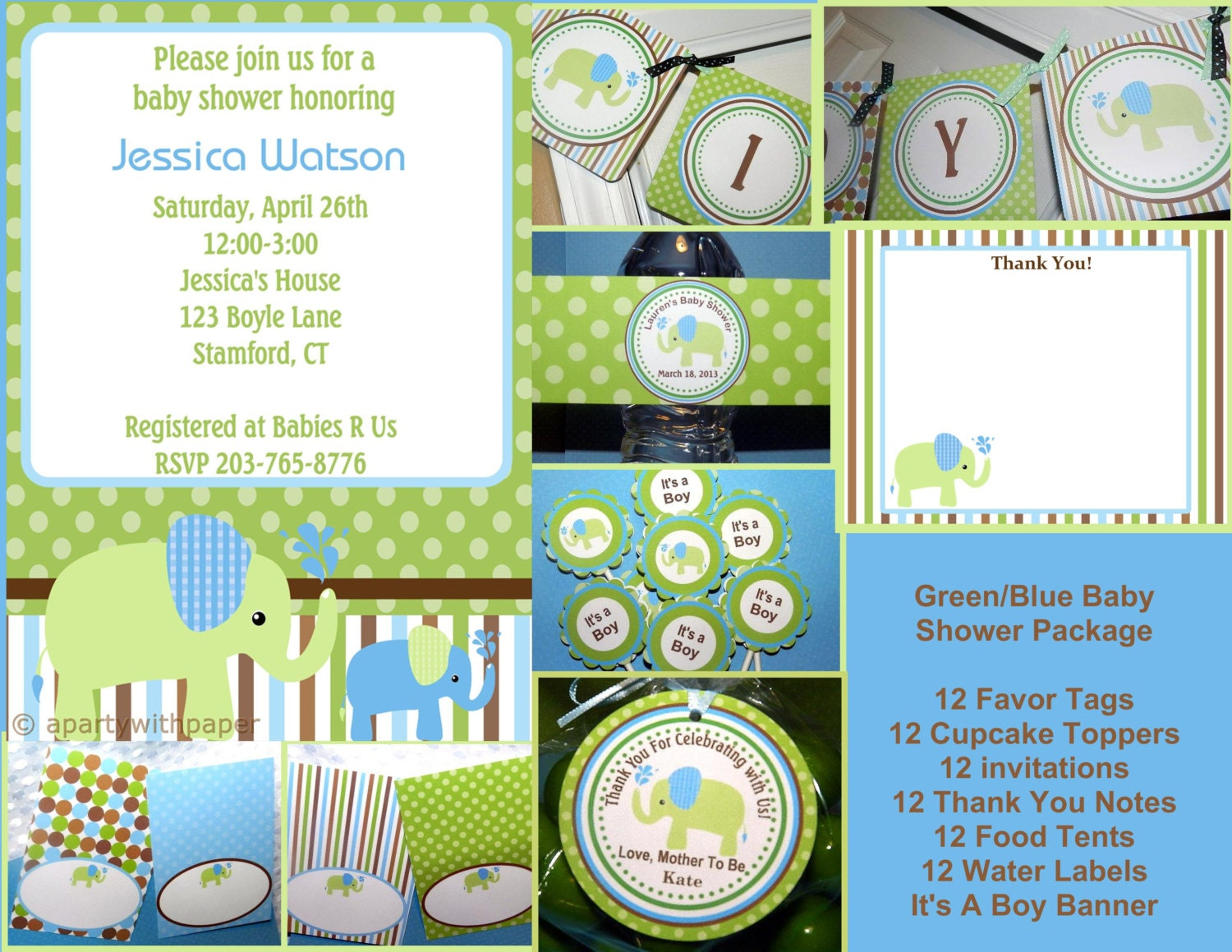 Elephant baby shower elephant baby package by apartywithpaper for Baby shower decoration packages