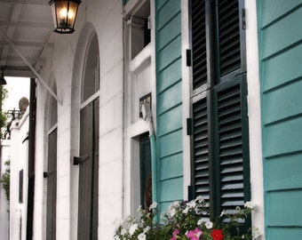 Architecture Photography - 8x12 Fine Art Photo - NOLA Porch, Flower Box, New Orleans, Travel Photography, Doorstep, Porch, Turquoise, White