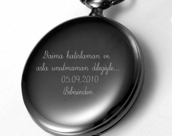 Personalized pocket watch engraved pocket watch black for Nice watch for boyfriend
