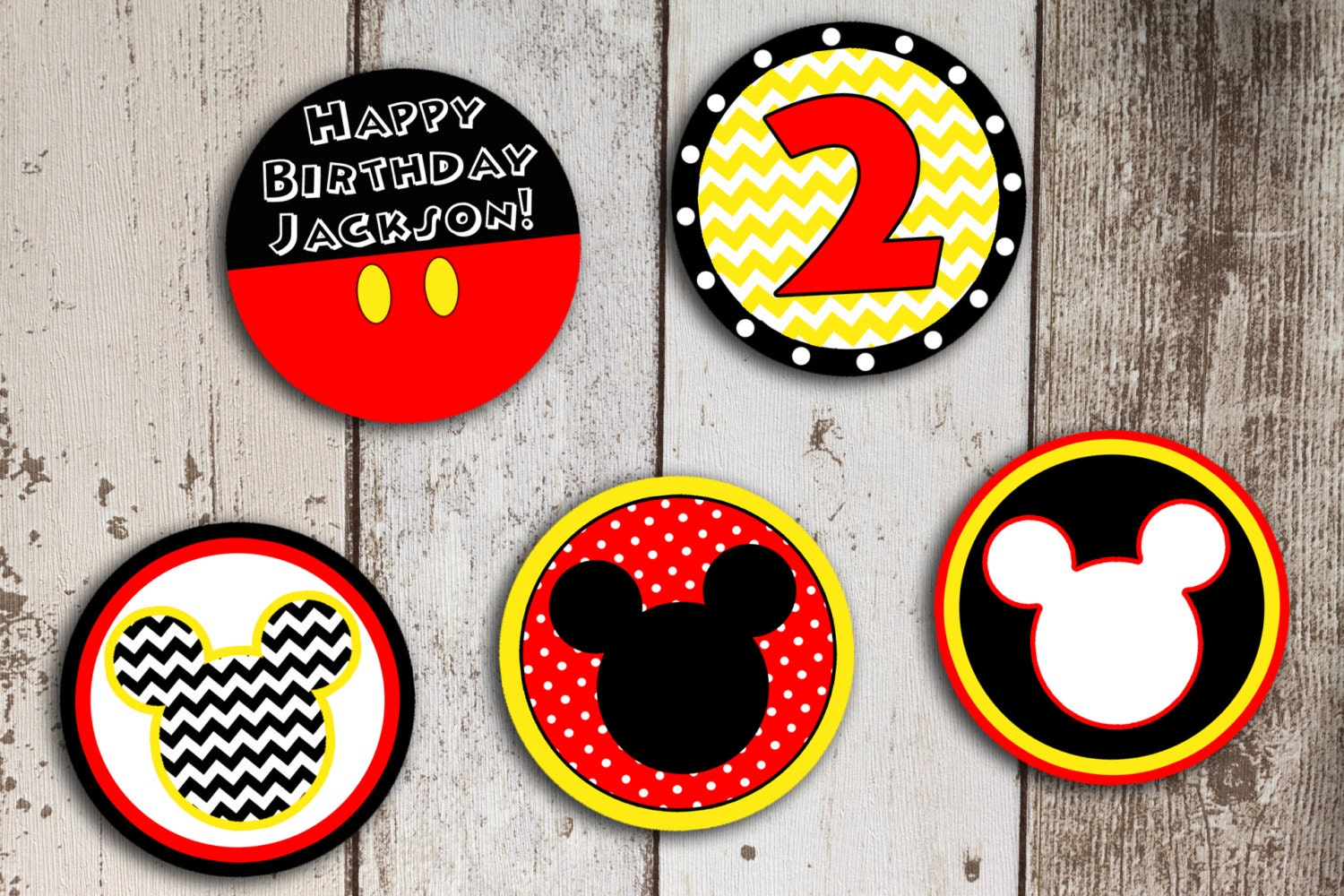 Red Yellow Black Mickey Mouse Cupcake Toppers DownloadableMickey Mouse Cupcake Toppers