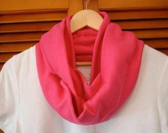 Free US Shipping Fuschia Hot Pink Jersey Knit Infinity Scarf Cowl