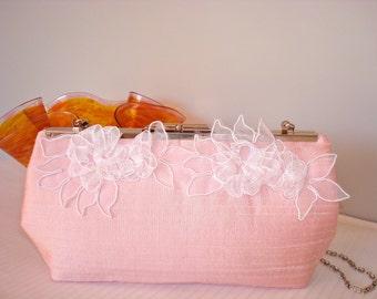 Free US Shipping Pale Pink Dupioni Silk Wedding Bridal Bridesmaids' Evening Prom Clutch Purse Bag