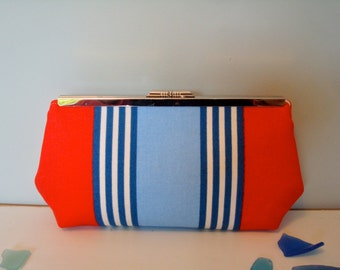 Free US Shipping Coastal Nautical Patriotic Multi Colored Cotton/Linen Striped Clutch Frame Purse Bag