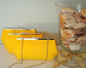 Free US Shipping  Wedding Bridal Bridesmaids Beautiful Bright Yellow Summer Trendy Linen Clutches Purses Bags
