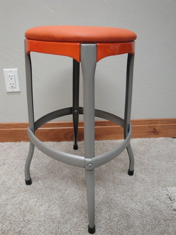 vintage antique restored cosco stool orange by retrocosco on etsy. Black Bedroom Furniture Sets. Home Design Ideas