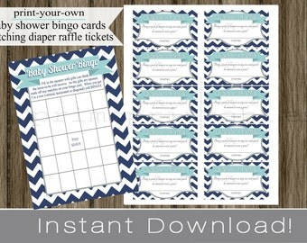 Baby Boy Shower Bingo Game Cards and Diaper Raffle Tickets navy blue chevron light blue gray  INSTANT DOWNLOAD diy digital printable file