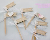 MADE TO ORDER Lace and Burlap Cupcake Flags with choice of ribbon and text color- Set of 12