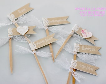 MADE TO ORDER Lace and Burlap Style Cupcake Flags with choice of ribbon and text color- Set of 12