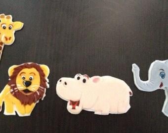 Jungle Animals 2D edible fondant cake toppers, giraffe, elephant, hippo, lion custom made to order