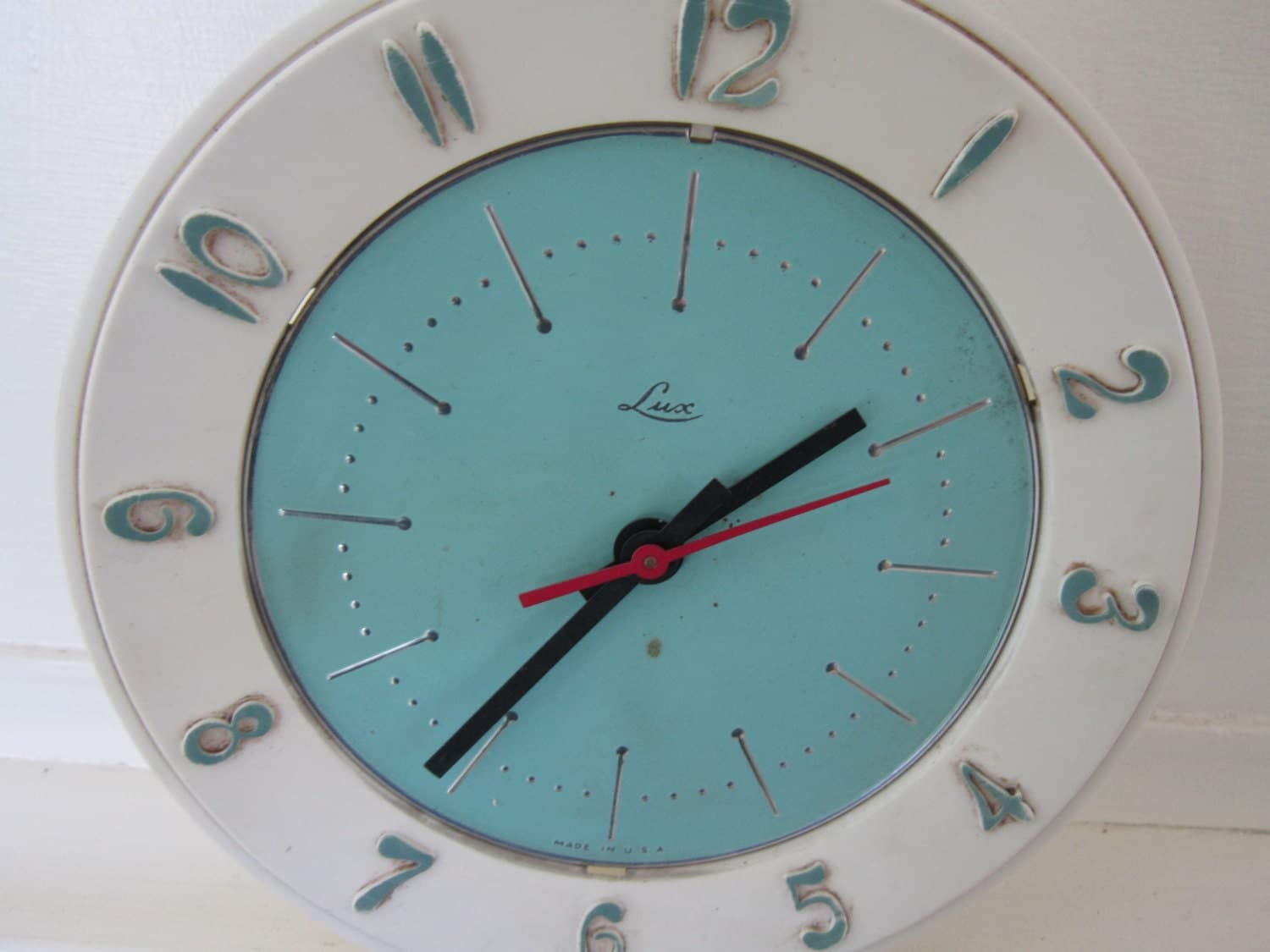 Vintage 1960's Wall Clock Lux Electric Turquoise