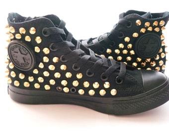 Original Converse AllStar Chuck Taylor high top studded  Converse stud GOLD spike on Black Shoes