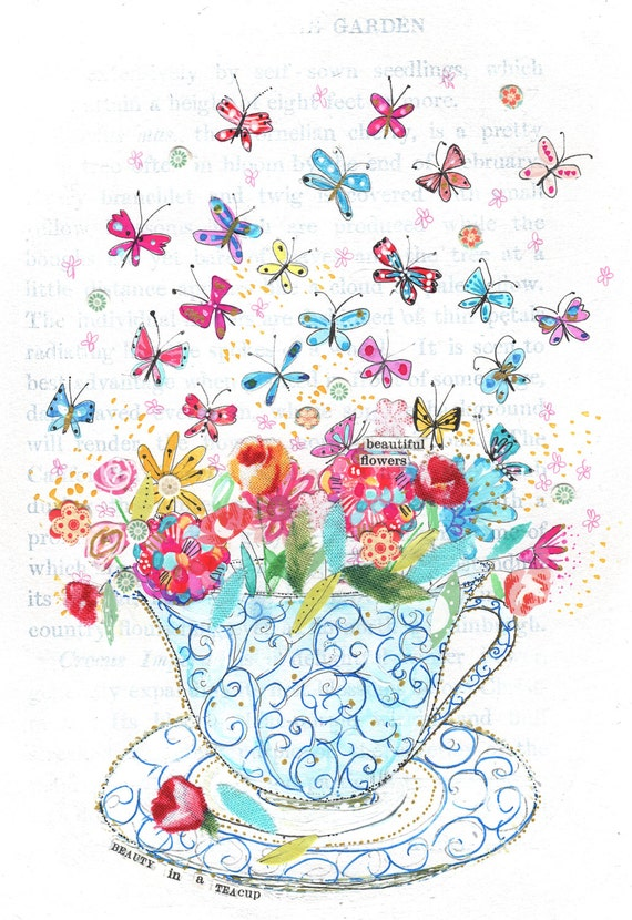 Beauty in a Teacup - kitchen wall art, home decor, Kids Wall Decor - A4 print