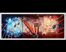 """original large painting multiple canvas abstract music saxophone colorful blue red purple 48x20"""""""