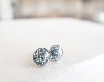 Sparkly Gray 6mm or 4mm Round Stud Earrings - Hypoallergenic Surgical Steel Posts