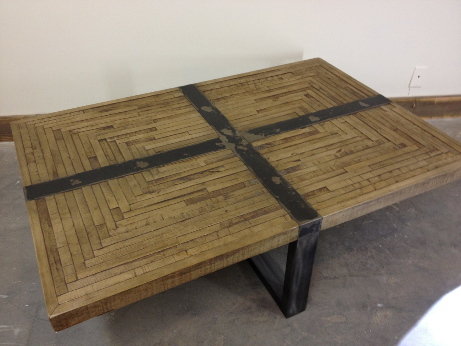 salvaged butcher block coffee table