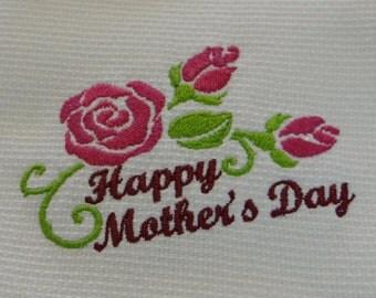 Happy Mother's Day Cotton Huck Kitchen Towel Fuschia