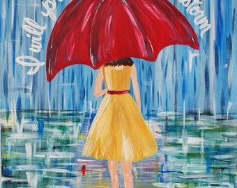 READY to SHIP!  Reduced from 125- COPYRIGHTED do not copy Praise You in this Storm Rain and Girl under umbrella, Scripture, Verse, 16 x 20