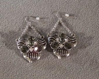Vintage Silver Tone Multi Round Rhinestone  Multi Petaled Flower Euro Wire Pierced Dangle Earrings