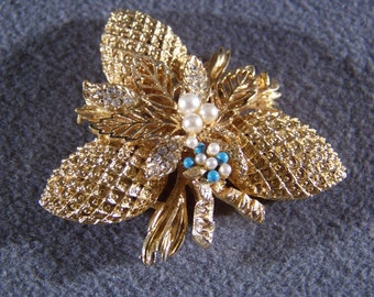 Vintage Yellow Gold Tone faux pearl turquoise filigree floral pin brooch