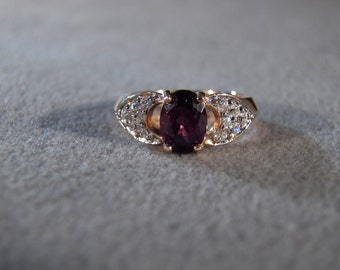 Vintage Sterling Silver with Gold Overlay  Ring with Large Oval African Amethyst with Round White Topaz Accent Stones, Size 5       M
