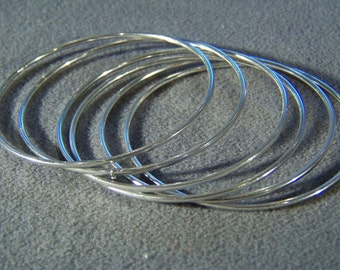 Vintage Silver Tone 6 Interlocking Twisted Bangle Bracelet Set        W