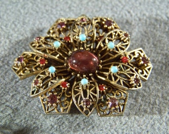 Vintage  Yellow Gold Tone multi colored Rhinestone Fancy  Filigree bold pin brooch      W