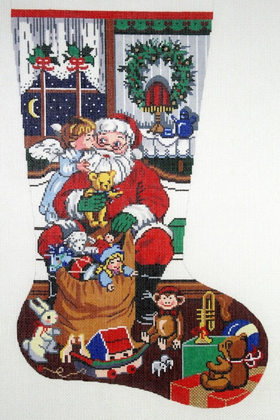 HandPainted Needlepoint Canvas LEE Christmas Stocking SANTA