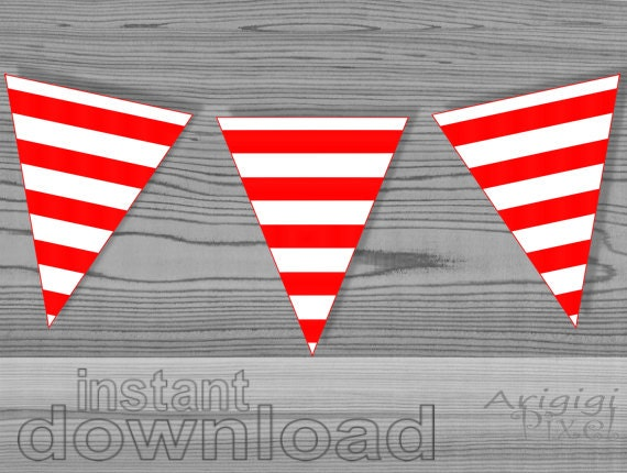 Red White Striped Party Flag Party Printables Download