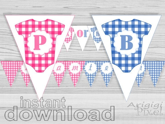 Pink OR Blue baby shower banner gender reveal banner
