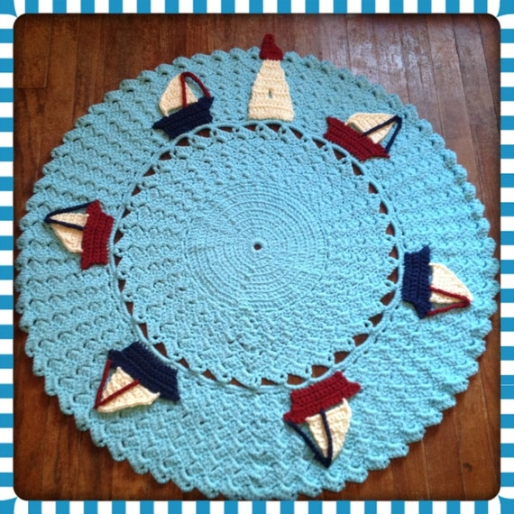"Round Nautical Rug OOAK Sailboat Large Nursery Decor Thick, Soft Crochet 36"" Area Rug (Sea in Popsicle Blue) Many Colors- Mat Housewares"