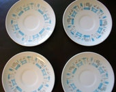 Set of 4 saucers/Vintage Royal China blue heaven/vintage plates/vintage dishes/retro plates/atomic decor/atomic plates/candles