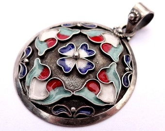 Silver Necklace with Enamel, Silver Pendant, Sterling Silver Necklace, Armenian Jewelry, Round Silver Pendant Necklace, Unique Necklace