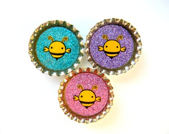 Bottle Cap Magnets Set of 3 Bumble Bees Resin Filled Glitter
