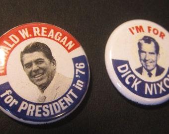 Richard Nixon or Ronald Reagan Replica Campaign Buttons
