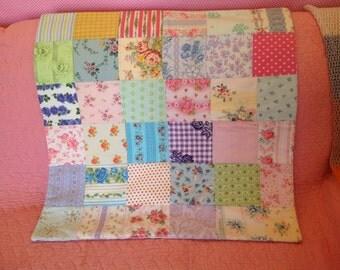 Vintage fabric patchwork quilt,  child's quilt,   decorative quilt,   handmade quilt,  patchwork quilt,  baby quilt,  cot cover,  bedding,