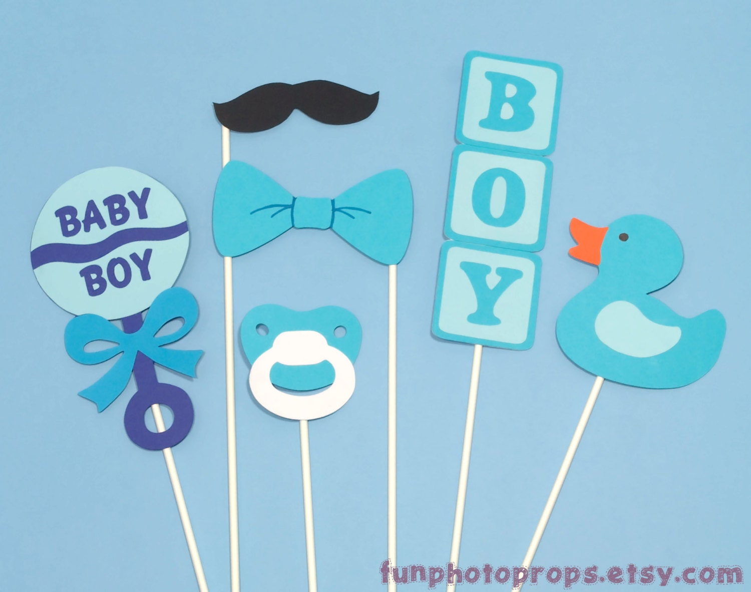photo booth prop set 6 piece baby boy photobooth by funphotoprops