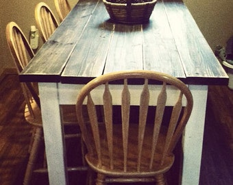 unique primtiques primitive distressed dark walnut stained country white farmhouse farm kitchen cabin table custom sizes - Distressed White Kitchen Table
