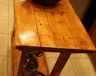 Beautiful Multi Functional Deep Rich Paprika Stained Distressed Wood Table Kitchen Island Custom Made Sizes Colors Upon Request