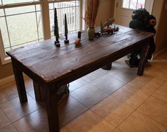 beautiful fishing lake cabin dark walnut stained primitive farm house country farmhouse kitchen table custom sizes - Primitive Kitchen Tables