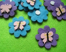 Felt flowers with wood butterfly, 12 pcs  (108)
