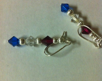 Patriotic Red, White and Blue Swarovski crystal Earrings