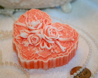 Cameo Coral Lace Heart Natural Soap Vegan Friendly Vegetable Based
