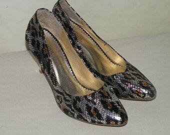 Vintage Giuseppe Zanotti Silver Snake Skin High Heel Shoes