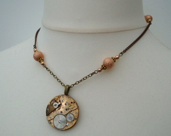 Steampunk necklace watch movement with copper beads - vintage pocket watch mechanism