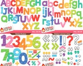 Rainbow Letters and Numbers Bundle clip art and digital stamps -  personal and commercial use