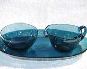 Scandanavian Art Glass Creamer Sugar Tray in Blue. Mid Century Modern.