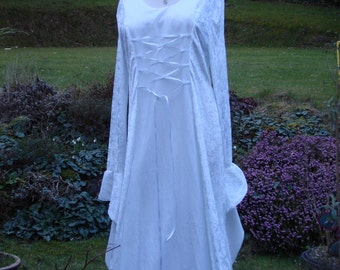 White elven renaissance medieval pagan celtic wedding handfasting gown / dress uk 14 to 22 / us 12 to 20